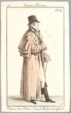 An important-looking greatcoat for travelling, riding or driving. Costume parisien, 1811