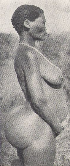 """Original photograph of SAARTIJIE """"SARAH"""" BAARTMAN. Born and raised amongst the KHOIKHOIS in SOUTH AFRICA. In 1810, she was persuaded by Dr. WILLIAM DUNLOP to travel to EUROPE to make her fortune. However, she was considered an anthropological freak in ENGLAND/PARIS, and she found herself being displayed as a sexual curiosity, and could only find work as a PROSTITUTE and CARNIVAL FREAK. Dubbed by her captors, THE HOTTENTOT VENUS, her image swept through ALL of European popular culture."""