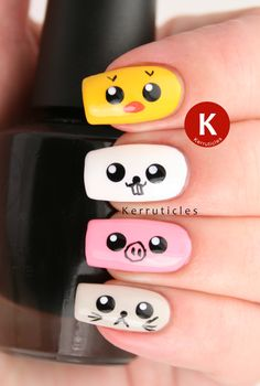 FingerFood's Theme Weeks: Cute: Japanese Kawaii Animals (Kerruticles) Animal Nail Art Nail Art For Kids, Easy Nail Art, Cool Nail Art, Manicure Gel, Diy Nails, Kawaii Nail Art, Animal Nail Art, Farm Animal Nails, Japanese Nail Art