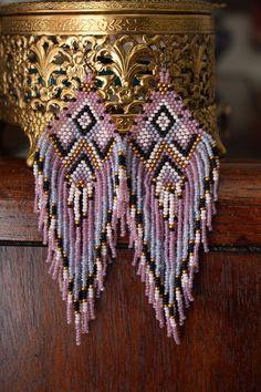 hand beaded native american style earrings by handmadewarrior, $100.00