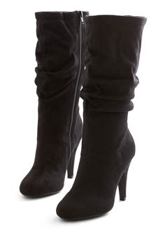 Come Out for Cocktails Boot - High, Faux Leather, Black, Solid, Ruching, Urban, Winter, Good