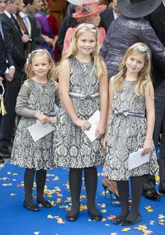 Princesses Ariane, Amalia, and Alexia at the wedding of Prince Jaime, October 5, 2013