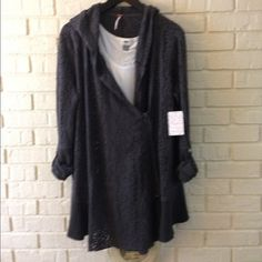 ONE DAY SALE! NWT. Pointelle Free People cardigan Love this!  Charcoal color cardigan sweater by Free People. Has asymmetrical zip and front hangs longer than back which makes it really cute with tank and shorts. Lightweight. Free People Sweaters Cardigans