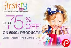 Firstcry offers Flat 75% off on 5000+ Diapers, Apparel, Toys & Gaming & more. Offer ends tonight, Valid on select products, 1 product per user. Firstcry Coupon Code – JAN75FLAT  http://www.paisebachaoindia.com/diapers-apparel-toys-gaming-flat-75-off-firstcry/