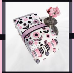 Daisy Dot Baby Girl Burp Cloth Gift Set of 3 Pink by PLMDeZigns, $14.75