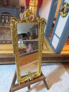 Dollhouse Miniature Artisan Elaborate Brass Tall Hall Mirror