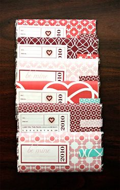 Make Valentine covers for chocolate bars.