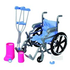 Oh no! Looks like one of your Journey Girls took a tumble! Luckily she has you and this Wheelchair and Crutch set to help her out. Each piece in the totally cool set looks just like a miniature version of the real thing, and the chair even rolls, folds and has working brakes! For more on-the-mend fun, a leg cast, arm cast, ice pack, bandage and sheet of mini stickers are also included to make sure your favorite Girl gets well with a smile!<br><br>The Journey Girls Wheelchair and Crutch Set…