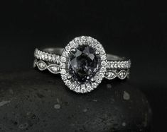 Natural Gray Spinel Oval Engagement Ring - Halo Diamond - Leaf Milgrain Wedding Band