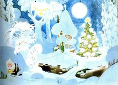 Winter in the Moomin Valley. By Tove Jansson. Christmas Art, Winter Christmas, Moomin Valley, Tove Jansson, Illustrations And Posters, Stop Motion, Character Concept, Totoro, Adult Coloring