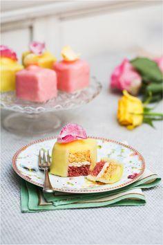 Easy to decorate lemon and rose fondant fancies