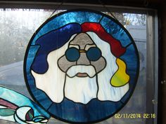 """Stained Glass Jerry Garcia Grateful Dead 12"""" Circle 