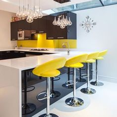 Kitchen / Wandsworth contemporary home Contemporary Interior, Colorful Interiors, Color Splash, Bar Stools, Indoor, Lights, Interior Design, Kitchen, Table