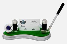Desktop Business Cards Holder and Golf Club Pen Holder with Golf Ball Clock on the Green, A Golfer Enthusiasts Gift Set