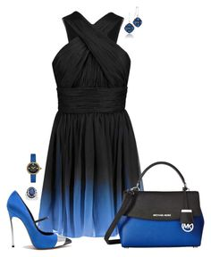 """""""Blue on Black"""" by designcat-colour ❤ liked on Polyvore featuring Halston Heritage, Casadei, Tacori, MICHAEL Michael Kors, Marc Jacobs, Palm Beach Jewelry, black, Blue and designcatcolour"""