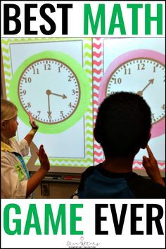 Kindergarten, first, second, and third graders will love this Telling Time KNOCKOUT {Hour, Half Hour, Digital, & Analog}. This pack includes 6 games of 30 slides each that cover telling time. This quick-paced game also builds character by emphasizing teamwork and good sportsmanship for kinders, 1st, 2nd, and 3rd grade students. Grab a free sample to see if your students love this exciting review that can be used in a center or as a whole class. Your students will be begging for more knockout. Telling Time Games, Telling Time Activities, Smart Board Activities, 3rd Grade Activities, Phonics Activities, Place Value Math Games, Math Games For Kids, Classroom Games, Classroom Ideas