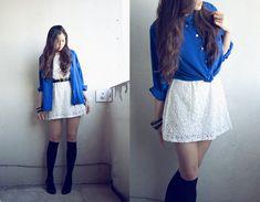 Lydia Lemieux - Thrifted Deep Blue Silk Shirt, Maglia Boutique White Crochet Dress, Knee High Socks, Steve Madden Black Heels - Day & night ...  (own)