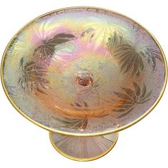 Fostoria Palm Leaf Brocade Iridescent Pink Etched Carnival Glass from glass-usa on Ruby Lane