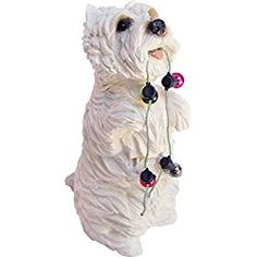 Sandicast West Highland White Terrier with Holiday Lights Christmas Ornament