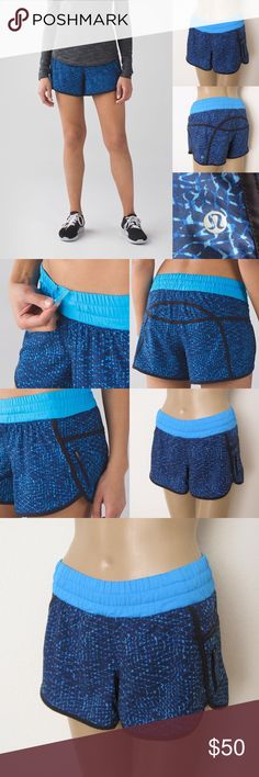 "Lululemon Tracker Shorts III LULULEMON ATHLETICA Samba Snake Kayak Blue Hero Blue Tracker Shorts III. Size 4. Excellent condition. Worn once. No visible flaws. Materials: Swift Ultra Features: lightweight coverage/no bulk performance/woven for strength/4-way stretch/sweat-wicking/built in liner/underwear Measurements (laying flat): • Waist - 24"" (around)  • Waist Band - 2.25"" thick • Rise - 8"" front/13"" back • Inseam - 3.5""  • Length - 10-12""  • Leg Opening - 12"" ~❌SWAP❌TRADE…"