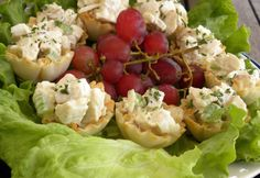 Chicken salad in a pastry cup. I think I will do a different chicken salad recipe