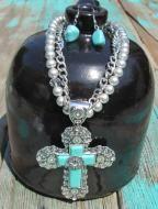 Southwest Cross Necklace With Cross Earrings $25.99
