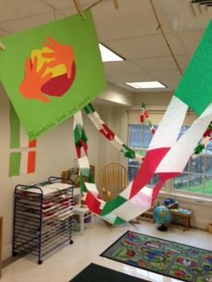 """The classroom decorated for the immersive three week """"trip to Italy"""" where 3's and 4's experienced Italian culture, language, customs, cooking and songs"""