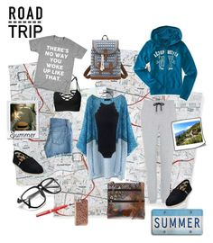 """Summer Road Trip"" by beleev ❤ liked on Polyvore featuring Anuschka, Topshop, TOMS, WithChic, AG Adriano Goldschmied, Bandana, Aéropostale, J.Crew, Case-Mate and Montblanc"