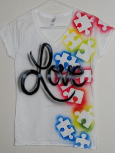 "Love this shirt idea minus the giant ""love"" -Autism Awareness Tee shirt Puzzle piece by SundayBestClothingCo"