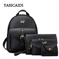 Women Leather Chain Backpack Fashion Bow School Backpacks for Teenage Girls 4pcs Ladies Pu Leather Preppy Style Backpacks