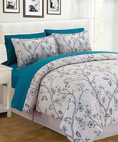 Another great find on #zulily! White Branch Floral Bed-in-Bag Comforter Set #zulilyfinds
