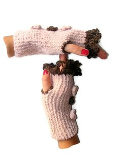 women Fingerless Gloves pink and brown hand crocheted by seno, $25.00