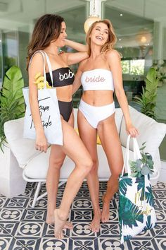 Where to buy cute bachelorette swimsuits for your crew, we found them! These are the best bachelorette party bathing suits in one-piece swimsuits and bikini sets for your bridesmaids to wear to your last bash as a single lady. Bridesmaid Swimsuit, Bridesmaid Robes, Bridesmaids, Bridesmaid Ideas, Bridal Swimwear, Tube Top Bikini, Honeymoon Bikini, Beach Bachelorette, Bride Veil