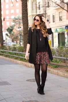 black & flowers