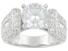 Bella Luce(R) Dillenium 6.95ctw Rhodium Plated Sterling Silver Ring