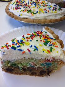 Cookie Cake Pie-- pre-made pie crust, Chocolate chip cookie dough, funfetti cake mix and topped off with buttercream frosting. YUM!!!