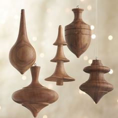 Set of 5 Turned Wood Ornaments  | Crate and Barrel