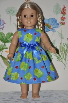 Blue Dress Cute Little Smiley Green Frogs and Ladybugs Ribbon Included Fits American Girl Doll Clothes. $11.99, via Etsy.