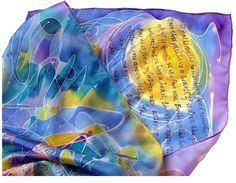 Carlos Castaneda Quotes Literature Book Hand Painted silk scarf Unique Extra Large 18 X72 Gift-Wrapped READY to Ship by EmeraldCloud on Etsy