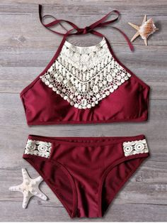 45d86c6b93 Halter Lace Spliced Cut Out Bikini Set