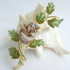 Golden Tone, Flower Rhinestone Brooch Pin, Bouquet Brooch, Flower Brooch Pin w Topaz & Green Rhinestone Crystal, Crystal Brooch, BP04754C4