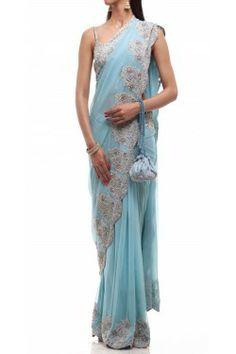 Tiffany Blue Saree | Shop this at: http://www.inanna.co.in/sarees/tiffany-blue-saree