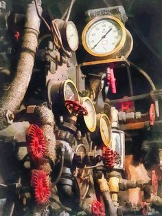 'Trains - Inside Cab Of Steam Locomotive': Fine Art Prints by Susan Savad - All these gauges and dials inside the cab of the steam locomotive are the controls necessary to operate the train. #locomotive #gauges #train AS LOW AS $37