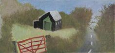 "Tessa Newcomb, ""Linstead Parva Village Hall"", Oil on board. Little Boxes, Fine Art Gallery, Crane, Watercolor Art, Folk Art, British, Sculpture, American, Lovely Things"