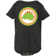 Adorable green Dinosaur stegosaurus on fun striped background Infant Creeper. $21.99 www.homewiseshopperkids.com