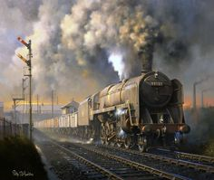 british steam trains - British Railways Standard Class freight locomotive from Saltley shed gets to grips with a southbound coal train. British Railways, Diesel, Old Steam Train, Steam Railway, Bonde, Train Art, Railway Posters, Train Pictures, Old Trains