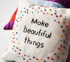 Hand Embroidered Pincushion 'Make beautiful things' Colourful Polka Dot French Knots