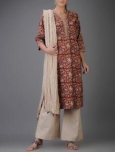 Red-Ivory Kalamkari-printed V-neck Cotton Kurta