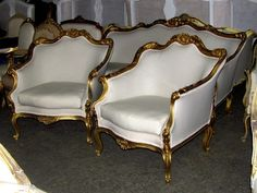 Early 20th C Ornately Gilt Italian Rococo Settee Sofa Canapé Bergere Chairs | eBay