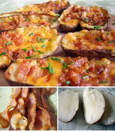 Loaded Potato Skins- these are very good!  I skipped the butter with a brush and broil steps and just put some on with a knife.  Also, might not be the best for a dinner party as they weren't hot by the time we actually ate them.